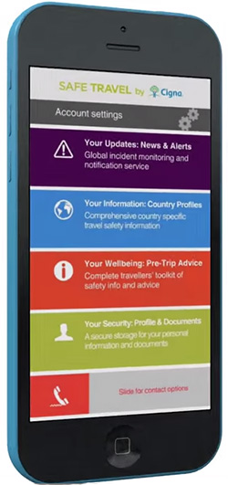 Cigna Global SafeTravel SmartPhone App